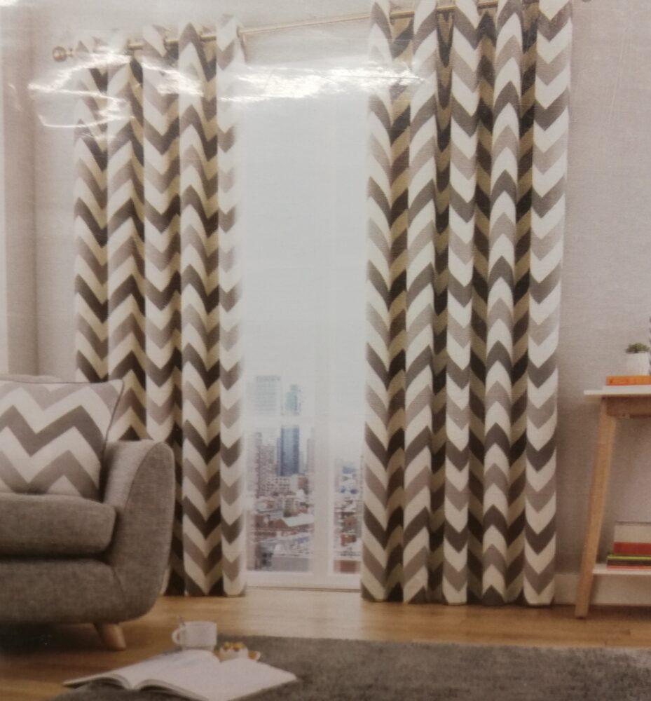 Chevron Grey Eyelet Curtains Chiltern Mills Curtains Blinds Bedding