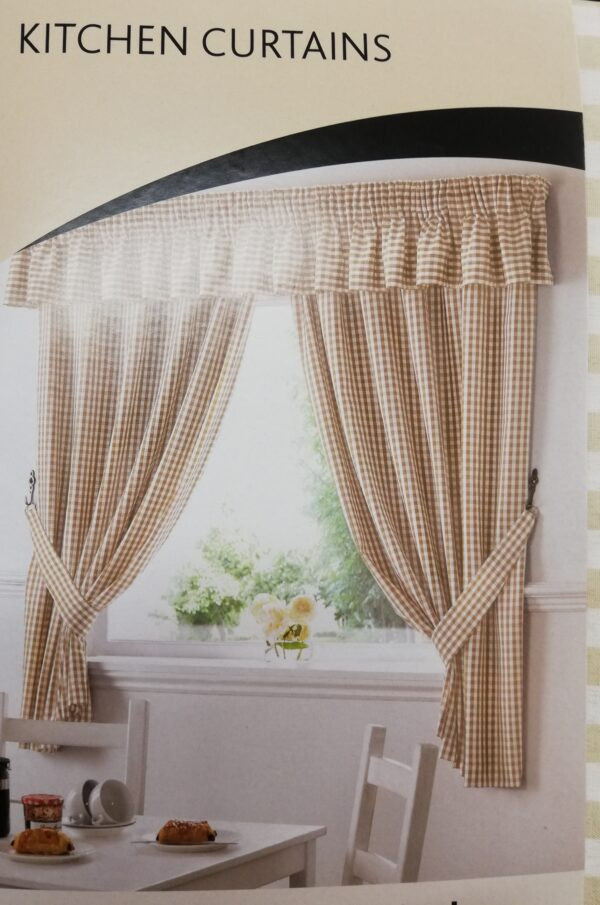 gingham ready made kitchen curtains in beige | chiltern mills | curtains | blinds | bedding
